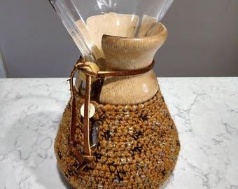 Hand Crafted Chemex Cozy / Cardigan - Fits 6 Cup Chemex - Jewel
