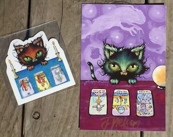 Signed post card and sticker tarot reading kitten