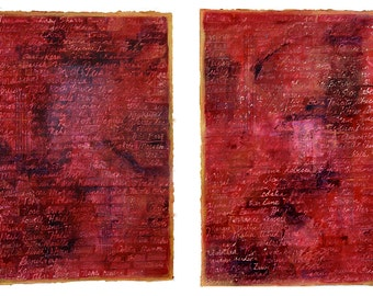 Book of Life Paintings- 15x22- 2 Red Abstract Collages- Set of Two- Large Wall Art- Hidden Handwritten Names- Gold, Crimson Red