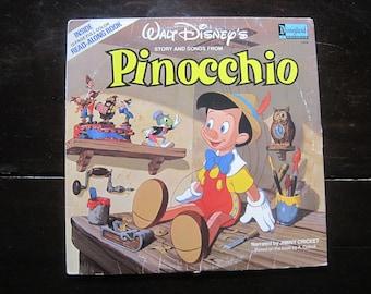 Vintage Record-Walt Disney's Pinocchio-1978- Disneyland Records-Book
