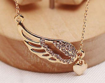 Angel Wings Love Heart Necklace