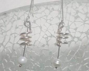 Fresh water pearl spiral dangle earrings