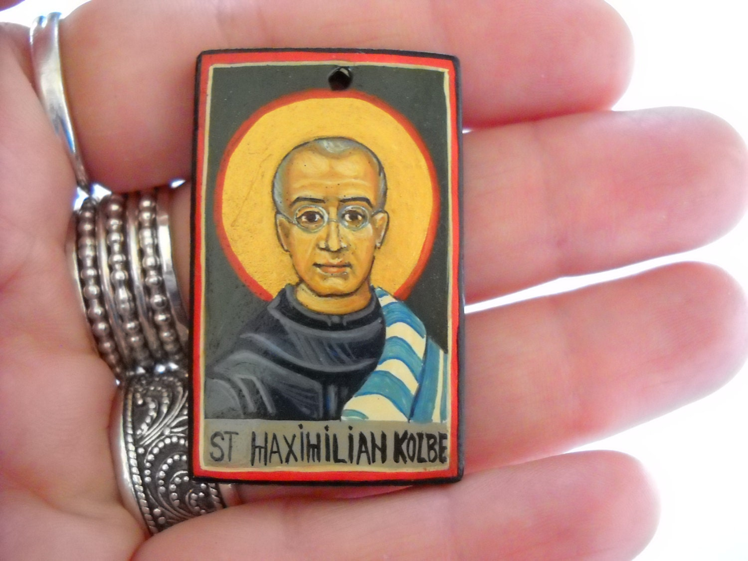 Saint Maximilian Kolbe Catholic Miniature icon Roman