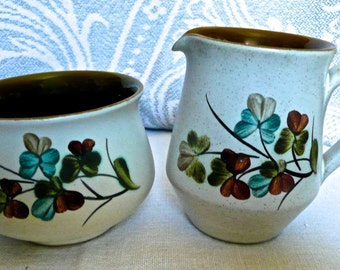Vintage Cream and Sugar - Vintage Denby - English Stoneware - Denby Pottery - Irish Shamrock & Denby shamrock   Etsy