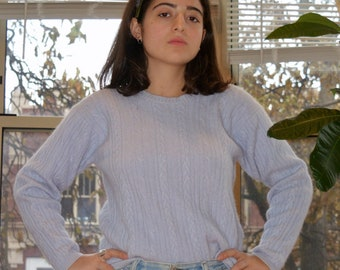 vintage lilac cable knit sweater