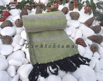 Turkishtowel-Soft-Highest Quality,Pure Organic Cotton,Hand Woven,Bath Towel or Sarong-Lime Green,Cream,Black