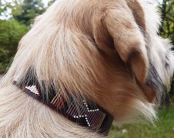 Bead Dog Collar , Leather Dog Collar , Dog ID Collar , Custom Dog Collar , Dog Collars , Engraved Dog Collar , Personalized Dog Collar ,