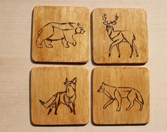 4x pyrographic wooden coasters/saucers/beer mats