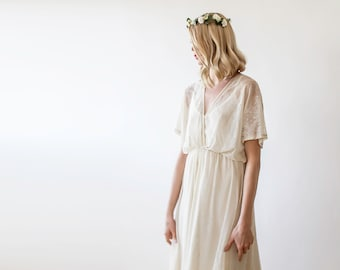 Cream maxi sheer floral lace gown, Country wedding lace dress, Bridal dress with short sleeves 1044