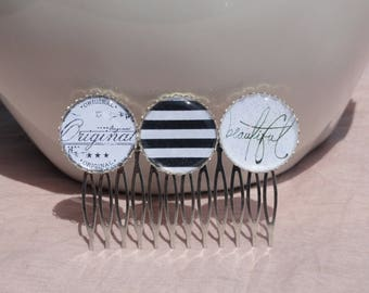 """Hair comb adorned with three black and white cabochons """"beautiful"""""""