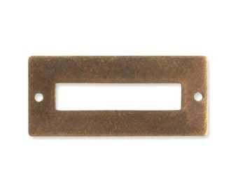 2 pieces - Brass Name Plate connector, Vintaj Natural Brass P320
