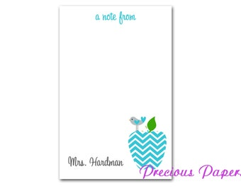 Personalized Teacher note pads Personalized teacher gift Personalized teacher teal chevron apple notepad apple note pad