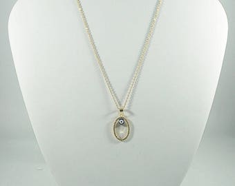 Stainless Steel Evil Eye with Pendant GOLD Necklace. WHITE.