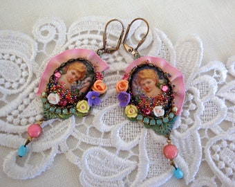 romantic earrings angels resin and ribbon and crystal
