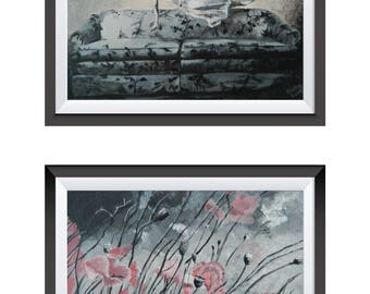 Girl and Flowers, Set of 2, Prints of Original Acrylic Paintings