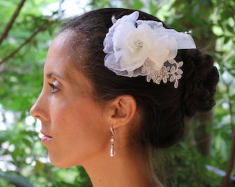 Bridal Headpiece, Ivory Fascinator, Silk Flower Hair Comb, Lace Bridal Hairpiece, ZOE
