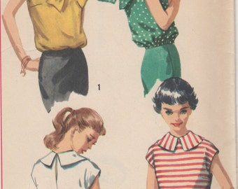 Bust31 1/2-1950's Junior Misses' Overblouse Simplicity 1968 Sz 11