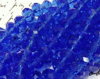 Glass Beads - Blue Faceted Beads -  8mm x 6mm  -  Blue Glass Beads - 42 pcs.