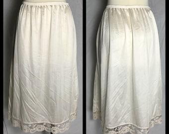 Lorraine Cream NylonHalf Slip with Lace Trimmed Hem in Midi Knee Length - Size Large