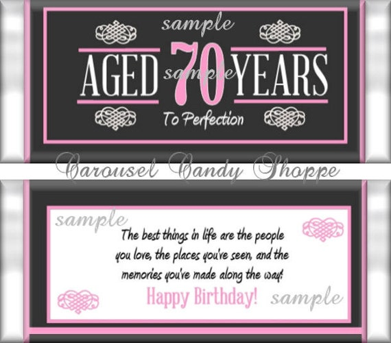70th Birthday Party Favors Hershey\'s Candy Bar Wrappers