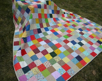 Patchwork Quilt--King Size--Classic Americana--92 X 106--made to order, farmhouse quilt, scrappy, traditional, red, blue, yellow, green