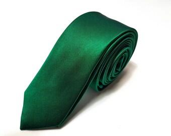 Skinny SILK EMERALD GREEN Solid Tie