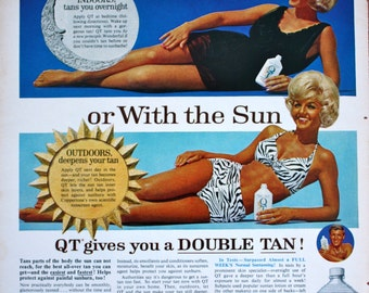 1965 ad Coppertone QT Sunless Tanning Lotion Cosmetic Beauty Product 1960's Woman in Bikini photo Vintage Print Ad ETK207