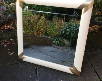 Lovely Cream Gold Mirror With Etched Detail On The Pain - vintage retro mirror.