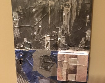 """ON SALE!! Original Artist-wrapped Textural Mixed-media Collage """"City Scapes"""""""
