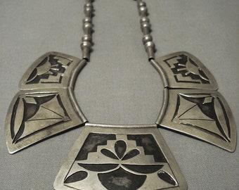 Very Rare Vintage Hopi Geometric Older Sterling Silver Necklace