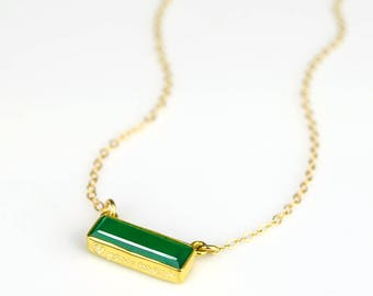 Statement May Birthstone, Custom Name Necklace, Adira Series Dainty Green Onyx Bar Necklace, Gold Gemstone Bar Necklace, Bridesmaids gift