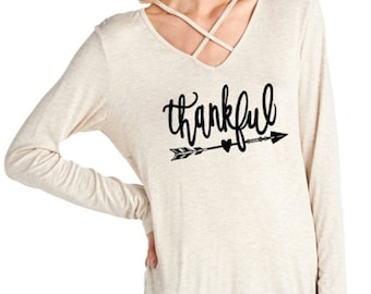 Thankful - arrow - crisscross front strap tunic top