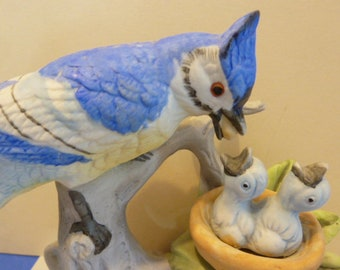 Blue Jay Mom & Babies Figurine, By: J. Byron