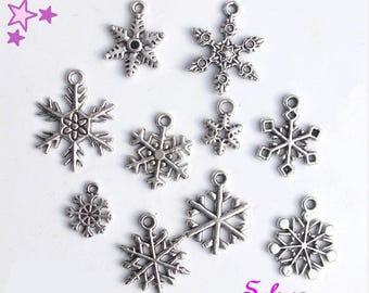 10 Charms 24 14 mm mixed winter snow / snowflake sizes weather silver-plated