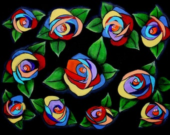 Flowers painted in different styles and colors.