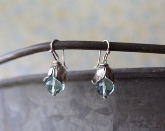 Thai Silver Lotus Blue Topaz Quartz Drop Earrings