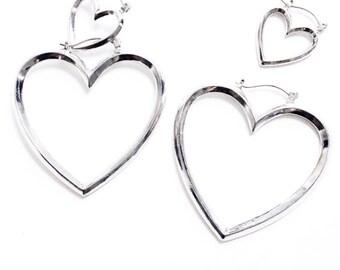 Double hearts heart earrings