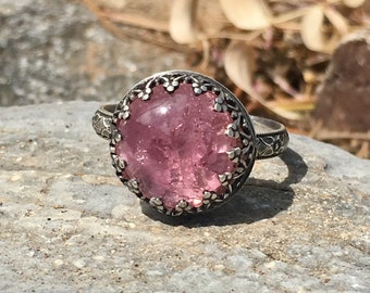 Sterling Silver Pink Tourmaline Ring Size 8.5