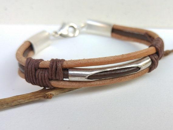 Brown Leather Bracelet, Mens Brown Bracelet, Leather Cord Bracelet, Brown Cord Wristband, Mens Cuff Bracelet, Men Statement Jewelry