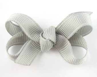 Baby Hair Bow in Gray - Extra Small Boutique Bow On Mini Snap Clip for Fine Hair Newborn to Toddler - Non Slip Barrette Grey mm