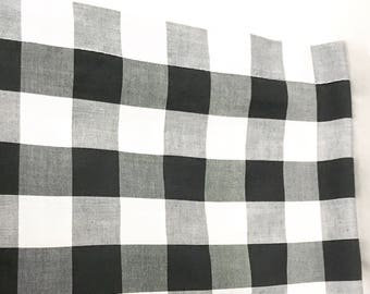 vintage black and white checkered plaid window valance long double sided