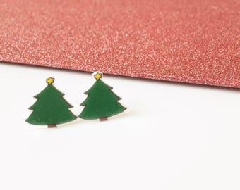 Christmas earrings - Xmas earrings - Novelty earrings - Christmas tree - Holiday earrings - Christmas jewellery - Stud earrings - Fir tree