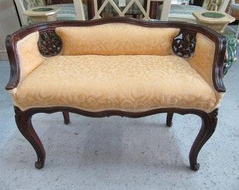 Sweet Petite Vintage Upholstered Settee