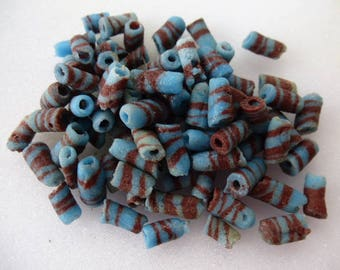 African recycled glass set of 30 pcs 10 mm ethnic tubes beads