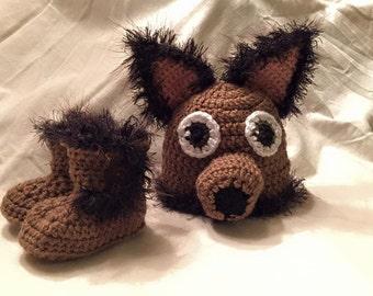 Newborn Dog Hat and Matching Booties