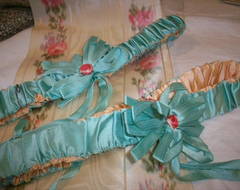 Set of two turquoise ribbon work garters silk authentic 1920s