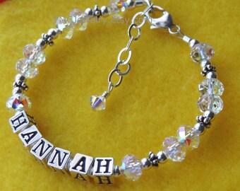 Personalized Sterling Silver and Swarovski Crystal  Name Children  Bracelet, Baptism Bracelet, Flower Girl Bracelet, Name Bracelet