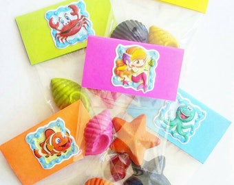 Mermaid, Crayons, Mermaid Party Favor, Mermaid Birthday, Under The Sea Party, Party Favors, Sea Shell, Beach Party, Party Favor Bags, Shells