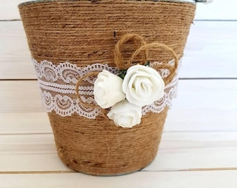 Rustic Wedding Flower Girl Basket, Wedding Flower Girl Basket,Rustic Metal Flower Girl Basket,Burlap Ribbon, Wedding Basket Bridal Basket