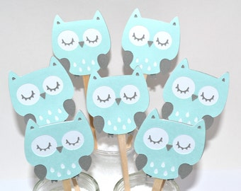 12 Teal Owl Cupcake Toppers / Owl Birthday Party Ideas / Its a Boy Owl / Owl Invitation / Owl Baby Shower Theme / Owl Centerpiece